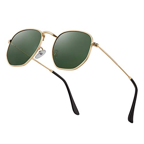Modern Geometric Polarized Metal Slim Arms Neutral Colored Lens Hexagonal Sunglasses Men Women Square Small Vintage Frame Retro Round Mirrored Driving Shade Sun Glasses(DarkGreen Lens/Gold Frame) (Square Sunglasses)