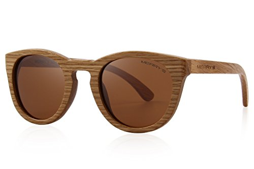 MERRY'S Polarized Full Frame Wooden Coated Floating Sunglasses Mens/Womens vintage Eyewear S5268 (Brown, ()