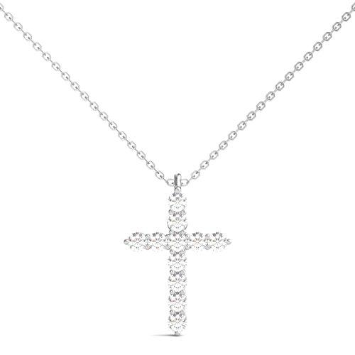 Diamond Studs Forever 14K White Gold Diamond Cross Pendant (1/4 Ct tw, IGI USA Certified GH/I1) (1/4 Ct Diamond Cross Pendant)