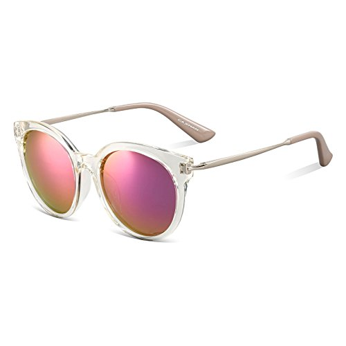 CAXMAN Women's Cateye Frame Retro Style Polarized Sunglasses Mirror Lenses (Purple Mirror Lens/Tansparent Frame, - Sunglasses Translucent