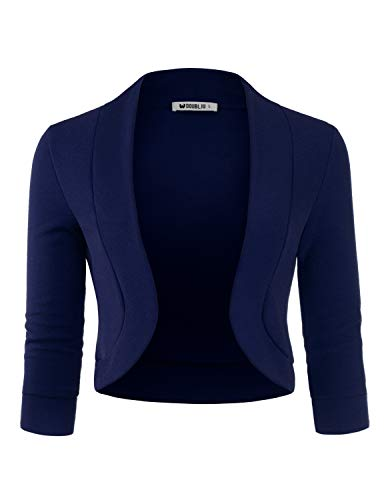 TWINTH Women's Classic 3/4 Sleeve Open Front Cropped Bolero Cardigan Navy Large