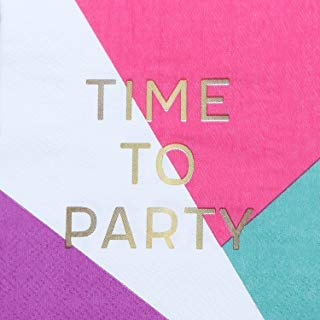 Cocktail Napkins - Set of 50 - Time To Party Napkins - Perfect Beverage Sized Disposable Paper Party Napkins for Showers, Birthday Parties and More ()
