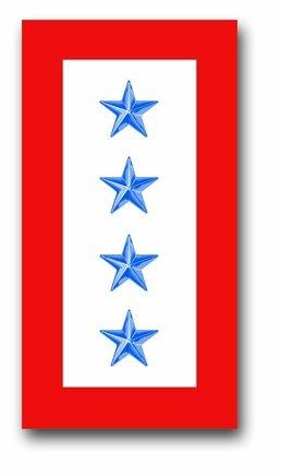 Military Vet Shop US Army Four Blue Star' Service Flag Vinyl Transfer Window Bumper Sticker Decal ()