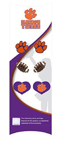 RhinestoneU NCAA Clemson Tigers WomensClemson Football 3 Pair Value Pack Stud Earrings Set, One Size