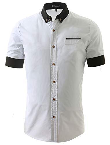 Allegra K Men Summer Contrast Pocket Button Down Short Sleeve Casual Shirt White S US 36