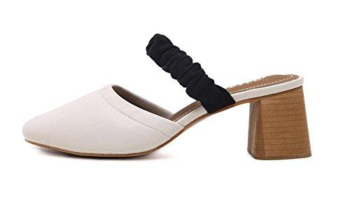 sandalias casuales de la moda femeninas con gruesa con sandalias semi-zapatillas Baotou apricot