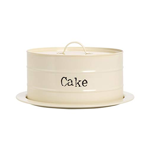 Harbour Housewares Industrial Cake Storage Tin with Dome - Vintage Style Steel Display Stand Plate with Cover - Cream