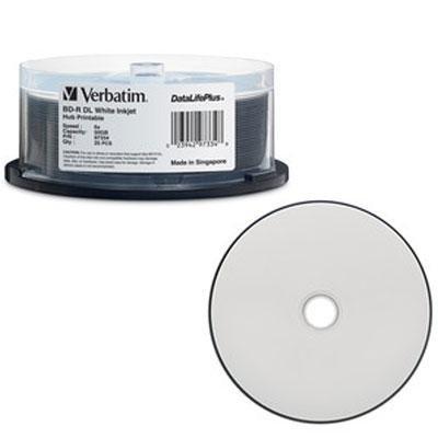 25pk Bd-R Dl 50gb 6X Spindle Dl+ White Inkjet Hub Printable by Verbatim