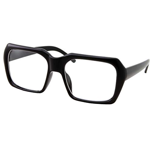 (XL Oversized Black Nerd Clear Glasses - Men and Women - Square Costume)