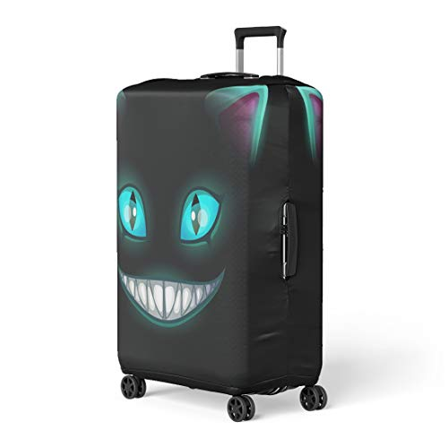 Semtomn Luggage Cover Blue Smile Fantasy Scary Smiling Cat Face on Cheshire Travel Suitcase Cover Protector Baggage Case Fits 22-24 Inch