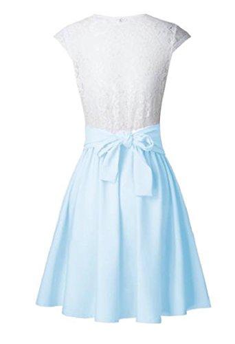 Coolred Blue Crewneck Waist Sky Mini Dress Splice Women's Pleated Lace Accept CpvA6OC