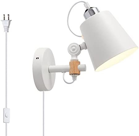 Kiven Plug In Wall Light Modern Bedside Wall Lamp White Simple Indoor Lighting Hanging Wall Lamp With Flexible Swing Arm For Bedroom Corridor Office Restaurant Studio Living Room