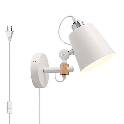 Kiven Plug in Wall Light Modern Bedside Wall Lamp, White Simple Indoor Lighting Hanging Wall Lamp with Flexible Swing Arm for Bedroom, Corridor Office, Restaurant, Studio, Living Room - Fixed Arm Wall Lamp