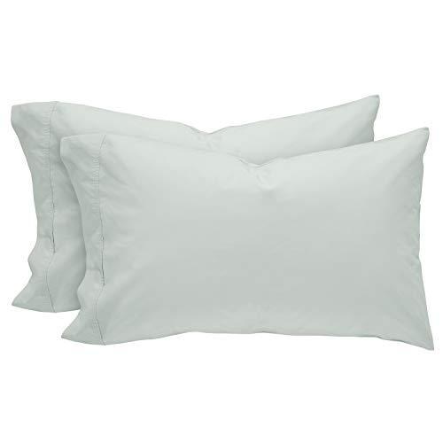 (Rivet Easy Care, Percale Cotton, Envelope Closure Pillowcases, King, Mint, Set of 2 )