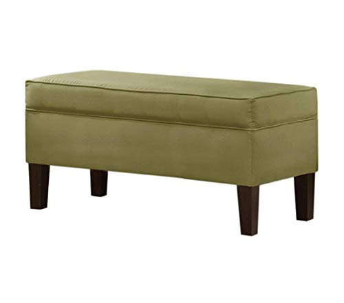 Wood & Style Street Upholstered Storage Bench by in Sage Micro-Suede Decor Comfy Living Furniture Deluxe Premium Collection
