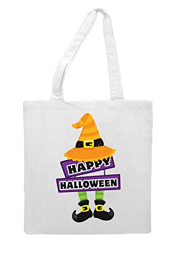And Feet Shopper Tote Hat White Happy Bag Halloween a6Cqwqx7