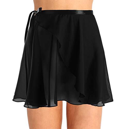 inlzdz Women's Asymmetrical Chiffon Ballet Wrap Over Scarf Dance Leotard Skate Tutu Skirt Black&Waist Tie B One_Size