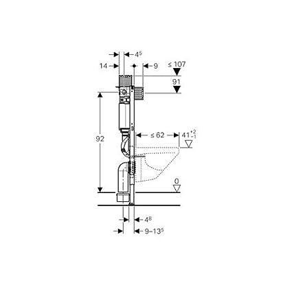 Geberit Ge Duofix Element für Wand-WC 98cm, 1 Stück, Blau;Weiß, 111030001