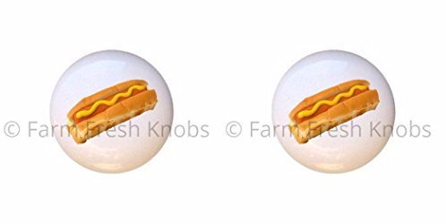 SET OF 2 KNOBS - Hot Dog - Food and Drink - DECORATIVE Glossy CERAMIC Cupboard Cabinet PULLS Dresser Drawer KNOBS from Farm Fresh Knobs & Pulls