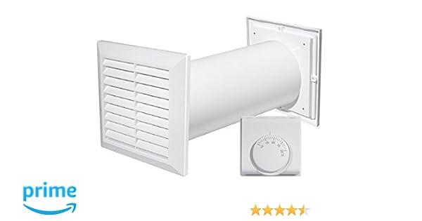 Turbina de distribución de aire caliente 4 en 1, con ventilador, termostato accesorios: Amazon.es: Hogar
