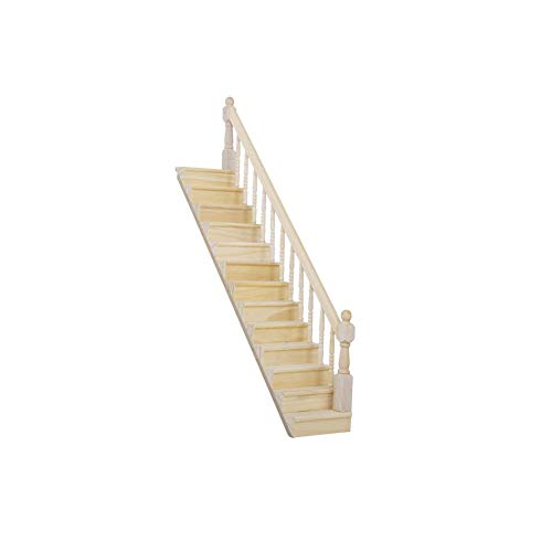 Chic Dollhouse Furniture Wooden Stair Stringer Step Replacement Pre-Assembled 45-Degree Slope Mini Wooden Staircase with Right Handrail