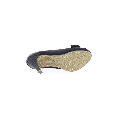 Scarpe nere donne finisce aperto a tacchi 11cm e piattaforma integrata