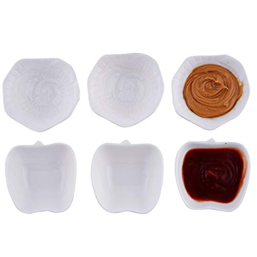 (AHUA 6-Pack Porcelain Dessert Bowl Set/Dipping Bowls/Ramekins,Condiment Dish Soy Sauce Dishes- Dipping Cups Condiment Bowls Dipping Dishes,White Apple & Flower Shaped Dip Bowls Sets (Flower & Apple))