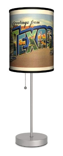 Travel - Texas Postcard Sport Silver Lamp by Lamp-In-A-Box