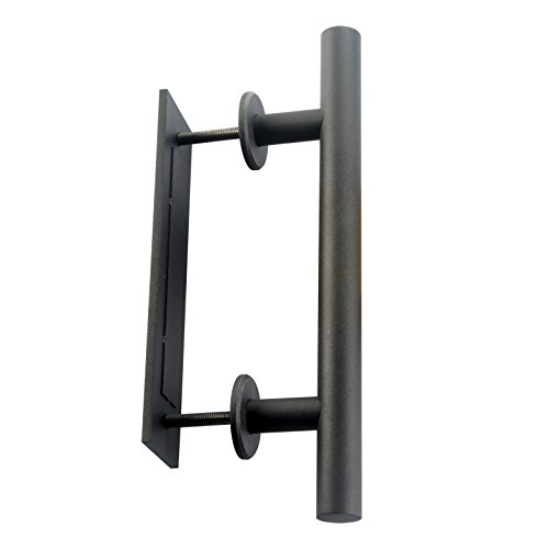 Shile 12 Inch Stainless Steel Rustic Barn Door Hardware Handle Set And Pull Wood Door handles Oil Rubbed Black (Black Rubbed Wood)
