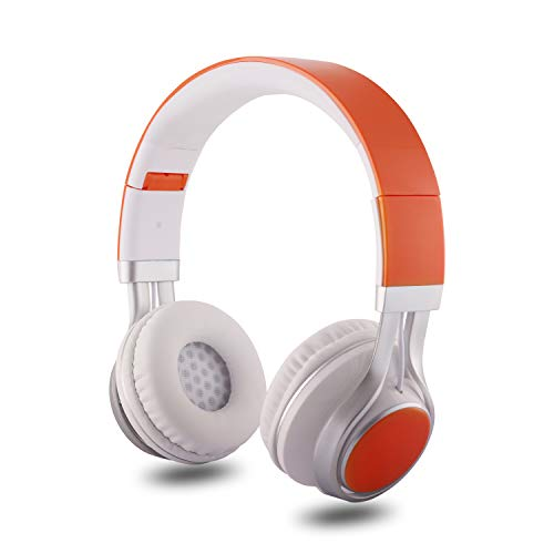 Alltrum On-Ear Headphone, Foldable Headphones, Wired Modes Compatible for Cellphones,Orange