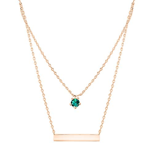 - PAVOI 14K Rose Gold Plated Swarovski Crystal Birthstone Bar Necklace Pendant Engraveable May