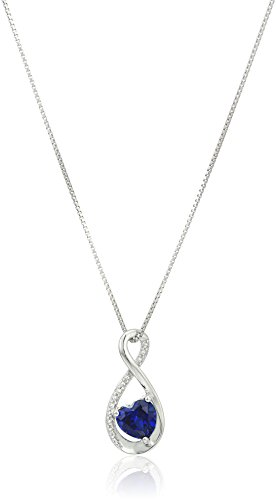 Sterling Silver Heart Lab-created Sapphire Pendant with Diamond Pendant Necklace, 18