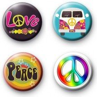 Button Pinback Love (Set of 4 * HIPPIES PEACE LOVE * Pinback Buttons 1.25