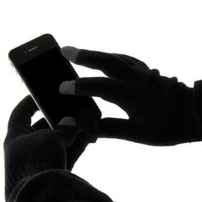 Tech Touch Gloves with Silver Coated Nylon Fibre Tips for all Models of Apple iPhone, Samsung, Sony, Huawei, Nokia, Google, LG, HTC, Moto, Lumia, and all Other Smartphones & Tablets - Black
