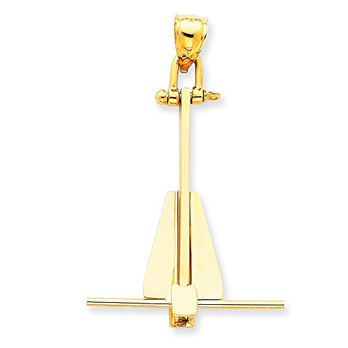 (14k Yellow Gold Moveable Danforth Anchor Pendant (27 x 43 mm))