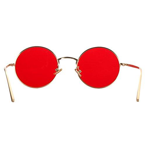 f8fd862ceb8 Amazon.com  COASION Vintage Round Metal Sunglasses John Lennon Style Small  Unisex Sun Glasses (Gold Frame Red Lens)  Clothing