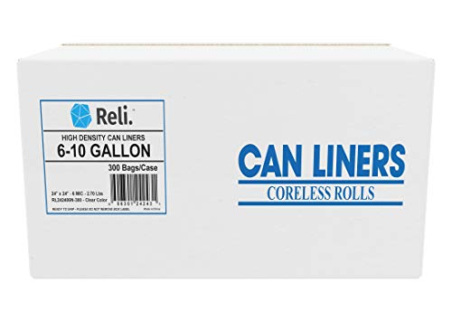 Reli. Trash Bags, 6-10 Gallon (Wholesale 300 count) - Star Seal High Density Rolls (Clear) - Garbage Bags, Can Liners with 6 Gallon, 7 Gallon, 8 Gallon, 9 Gallon, 10 Gallon Capacity ()