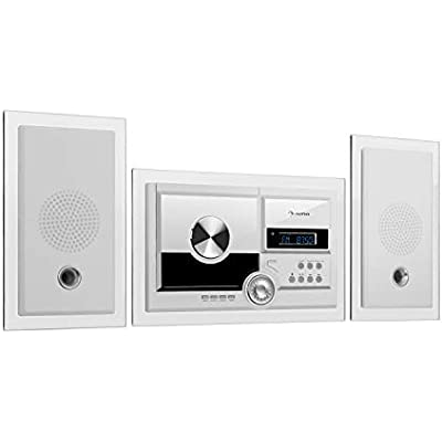 AUNA Stereosonic Stereo System Wall Mounting  Player  USB  Bluetooth  Alarm Function  Radio  White