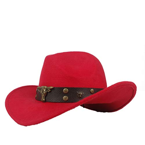 ASO-SLING Faux Felt Wide Brim Western Cowboy Hat Wool Outback Hat with Steampunk Leather Belt Red