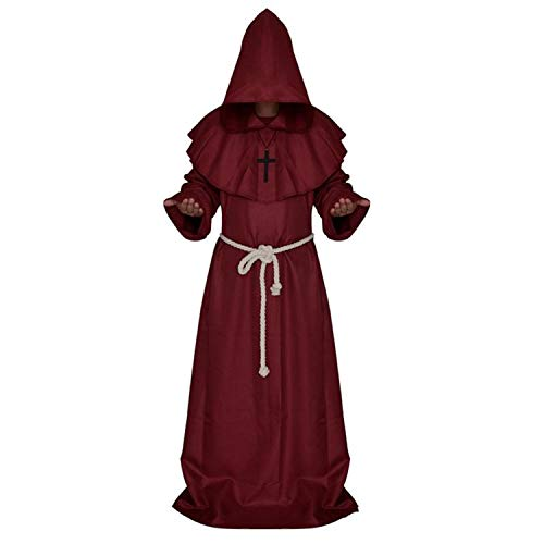 Fairy-Margot Medieval Priest Monk Robe Hooded Cap Halloween Cosplay Costume Cloak for Wizard Sorcerer - Size XL (Dark Red)]()