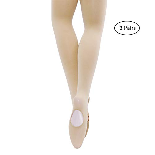MANZI Womens Girls Solid Color Comfortable Convertible Ballet Tights 1-3 Pairs Pack