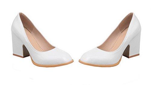 AalarDom Femme Verni Tire Fermeture d'orteil à Talon Haut Chaussures Légeres Blanc dBWCgw