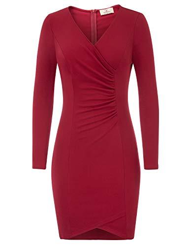 Office Pencil Midi Ruffle Women KARIN Bodycon to GRACE Red Dress Business Wear Work 2 v0F4nw