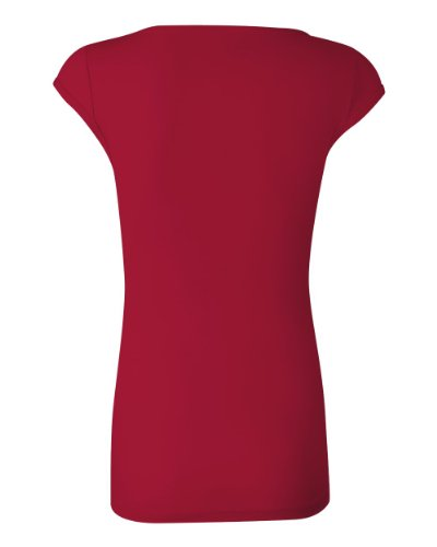 Bella Ladies Sheer Rib Cap Sleeve Deep V-Neck T-Shirt. 8705 - XX-Large - Red