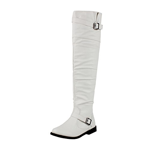 White Knee Boots (West Blvd Tokyo Thigh High Over The Knee Boots, White Pu, 7)