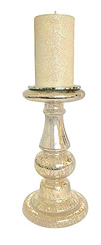- Mercury Glass Candle Holder with Glitter Wax Pillar Candle Single 17.5