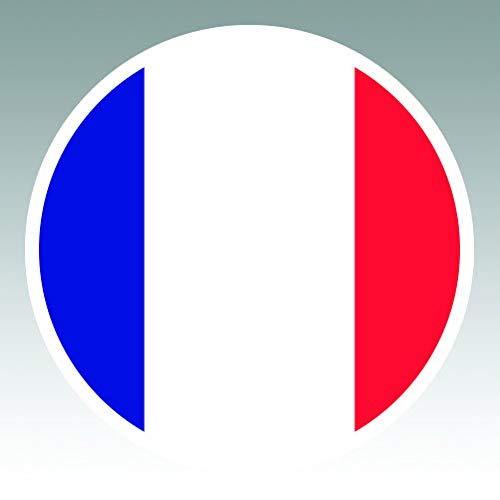 - Round French Flag - Color Sticker - Decal - Die Cut - Size: 4.00