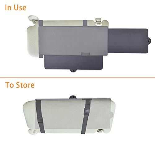 TFY Anti-Glare Sun Visor Extender Window Sunshade and UV Rays Blocker - Grey - 1 Piece