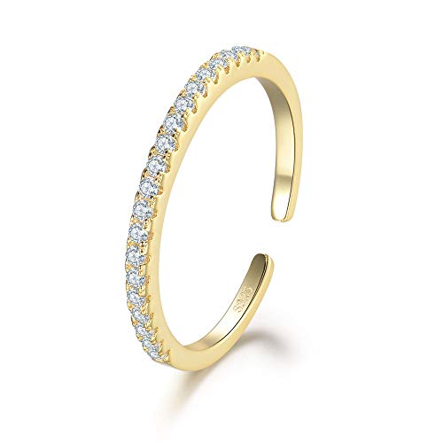 MASOP 2mm 14K Gold Plated Sterling Silver Cubic Zirconia Adjustable Ring Half Eternity Stackable Open Rings Engagement Wedding Bands for Women ()