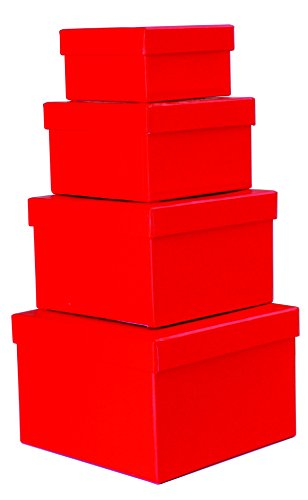 Cypress Lane Square Gift Boxes, a Nested Set of 4, 3.5x3.5x2 to 6x6x4 inches (Red) -